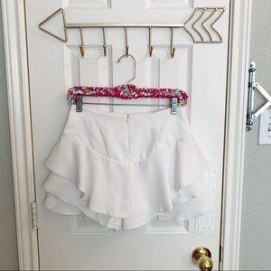 Zara Shorts - NWT Zara Woman White Layered Ruffle Skort
